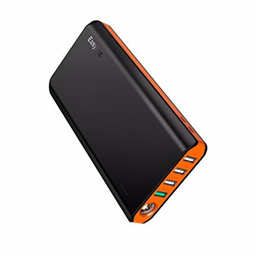 EasyAcc Powerbank 20000mAh QC 3.0 Ricarica Rapida Batteria Portatile e Compatta con Due Ingressi Quattro Uscite e Torcia Elettrica, per iPhone, iPad, Samsung Galaxy e Altro