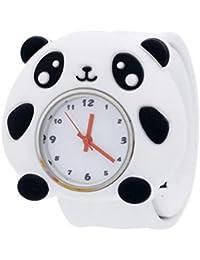 Happy Cherry - Montre Pédagogique pour Garçon Quartz en Caoutchouc 3D Motif Cadran Blanc Slap Watch - Panda
