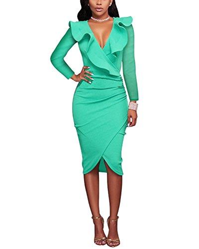 Gikim - Vestido de Bodycon para Mujer, Estilo Vintage, Cuello en V Green Long Sleeve 40