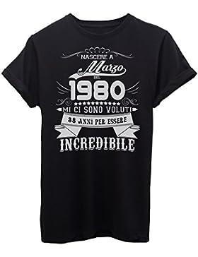 iMage Shirt Compleanno Nato A Marzo del 1980-38 Anni per Essere Incredibile - Eventi - Maglietta