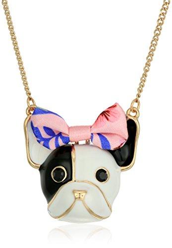Betsey Johnson Damen Hund Anhänger Halskette, weiß/rosa, Einheitsgröße (Betsey Johnson Unter 40)