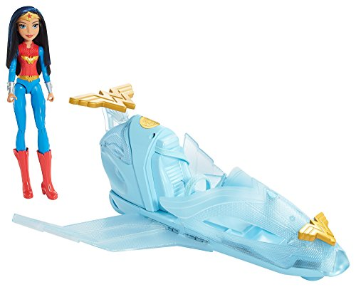 Mattel DYN05 - DC Super Hero Girls Wonder Woman Puppe mit Unsichtbarer Jet (Wonder Woman Kids Outfit)