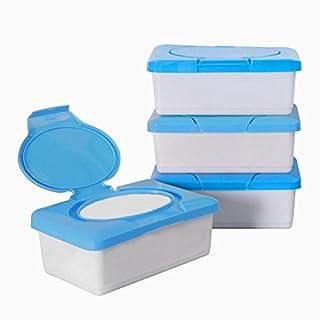 Ainstsk Travel Portable Wet Tissue Box,Baby Wipes Box Plastic Wipes Dispenser Tub Plastic Tissue Case Diaper Duty Organizer(blue)