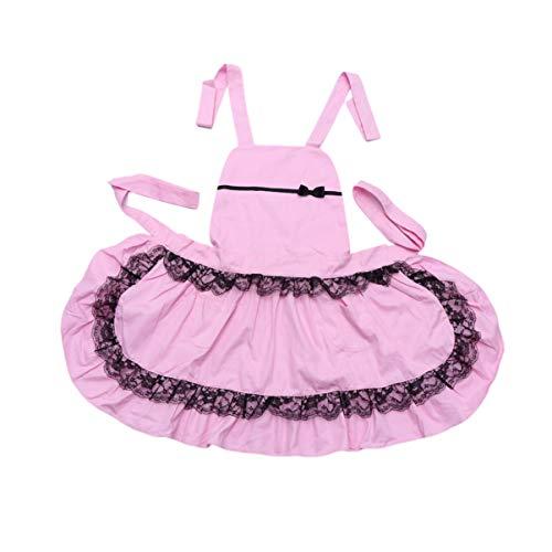 Kostüm Kellnerin Tipps - UPKOCH Dienstmädchen Schürze Rüschen Womens Vintage Retro Küche Kochen Backen Schürze Dienstmädchen Schürze Party Kostüm (pink + schwarz)