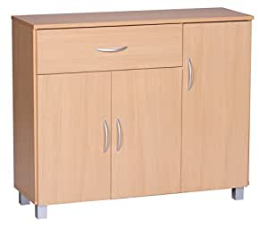 1plus sideboard buche 90 x 75 cm mit 3 t ren 1 schublade k che haushalt. Black Bedroom Furniture Sets. Home Design Ideas