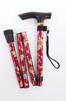 Lightweight Foldable Compact Walking Stick - Red Floral [version:x7.2] by DELIAWINTERFEL