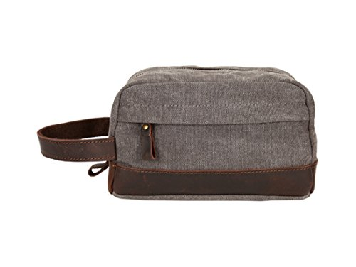 VRIKOO Canvas Travel Wash Toiletry Bag Shaving Dopp Kit Vintage Cosmetic Makeup Pouch for Unisex