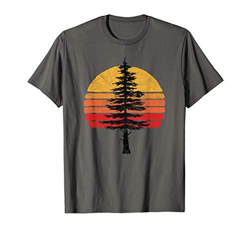 Retro Sun Minimalist White Pine Tree Illustration Graphic  T-Shirt - Tree Hugger Gelben T-shirt