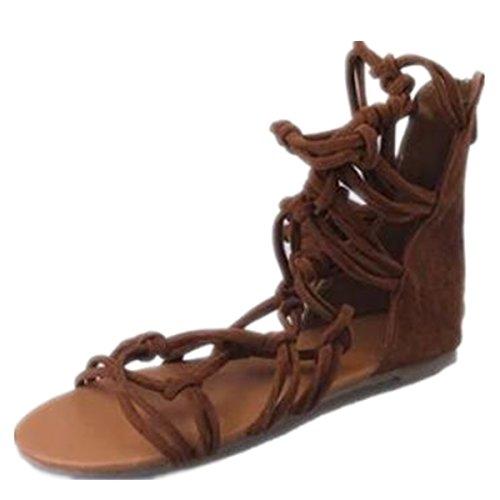 ZhengYue Frauen Sommer Casual Kniehohe Gladiator Flache Stiefel Flache Schnürschuhe römischen Sandale Strand Schuhe Größe, Braun - braun - Größe: 38