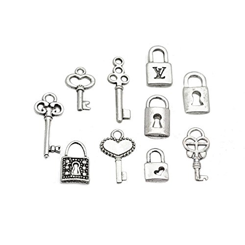 pandahall-5-sets-tibetan-style-alloy-charms-key-and-lock-mixed-style-lead-free-antique-silver