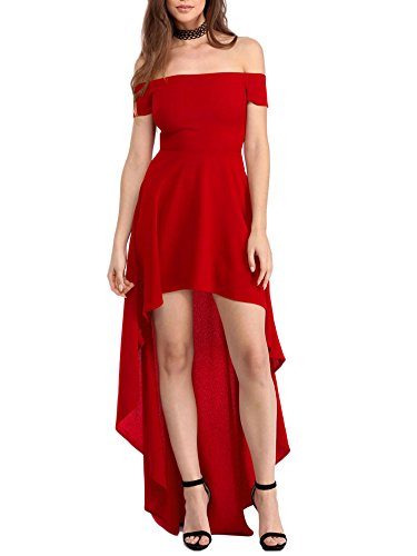 Minetom Damen Sommerkleid Maxikleid Einfarbig Sexy Schulterfrei Hem Asymmetrisch Strandkleid Langes Party Ballkleid Abendkleid Strandkleid Maxi Sundress Rot DE 36 (Lace Belle Bustier)
