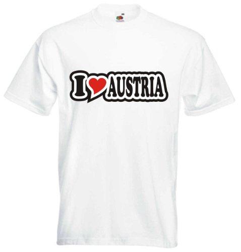 T-Shirt Herren - I Love Heart - I LOVE AUSTRIA Weiß