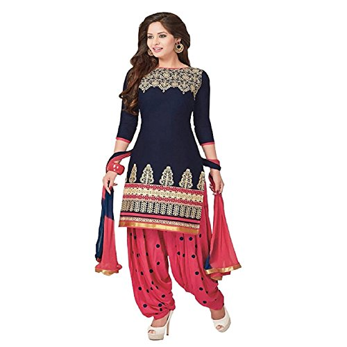 Z HOT FASHION Women Printed unstitched Salwar Suit\dress Material In Poly Cotton Fabric (Suits ZHTTP1005) Blue  available at amazon for Rs.199