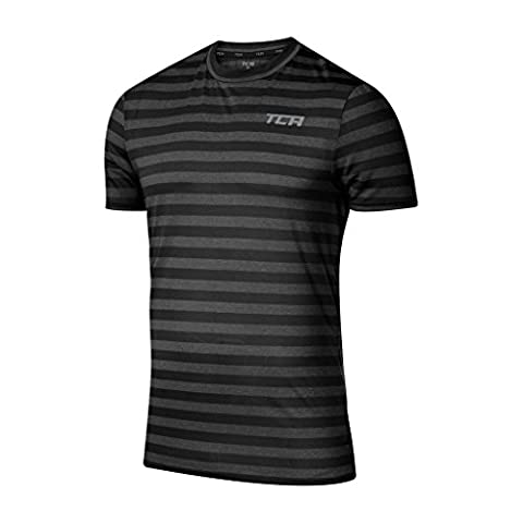 Men's TCA Reaction QuickDry Striped Short Sleeve Running / Training Top Black Stripe L