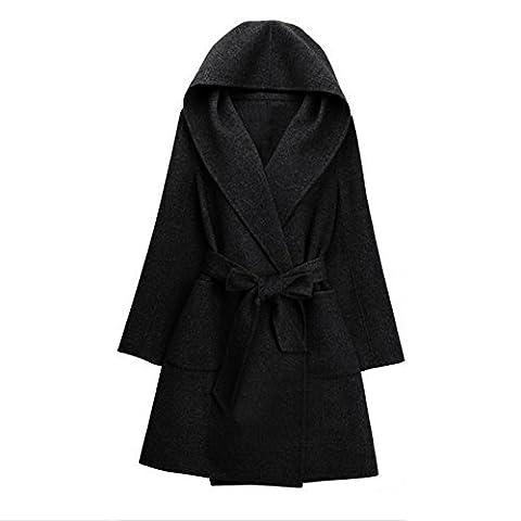 ZAFUL Manteau Femme Hiver 2016 Manteau de Laine Longue Femme Manteau Veste Casual avec Ceinture Grande Taille
