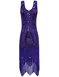 Metme Womens 1920s Flapper Fringe Beaded Great Gatsby Party Dress