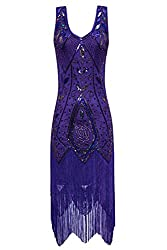 Metme Women's 1920s Vintage Flapper Fringe Beaded Great Gatsby Party Dress (M, Violet)
