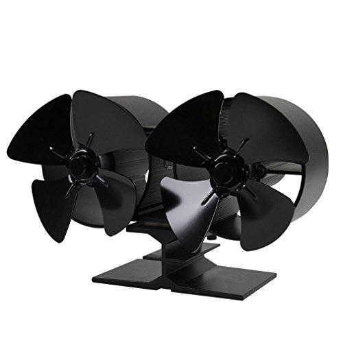 ICOCO Stromloser Ventilator für Kamin Holzöfen Öfen, 8 Rotorblätter Kamin- Ventilator,Twin Blade,Geräuscharmer Betrieb (Herkömmliche öfen)