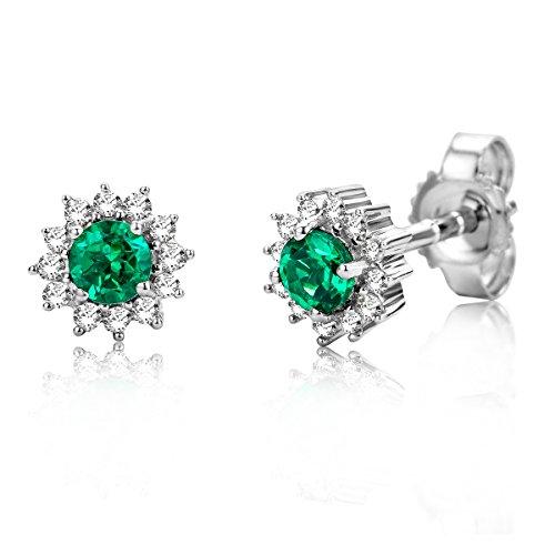 Miore Damen Weißgold Smaragd Ohrstecker Ohrringe 9KT (375) mit Diamant Brillanten 0.10 ct