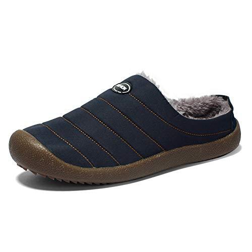 Zapatillas de Casa para Hombre Invierno Caliente Pantuflas Casa Algodón Slippers Interior Al Aire Libre Zapatos Negro Azul Verde 37-48 BL48