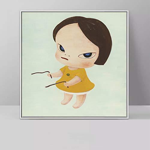 JNZART Cartoon Malerei Yoshitomo Nara Schlafwandel Puppen Leinwand Kunst Malerei Druckplakat Bild Wandkunst Für Baby Room Home Decor E 40x40CM -