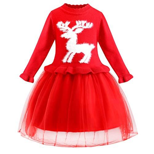 LEXUPE Baby Mädchen Kleid Weihnachten Bekleidung Set Strampler Tütü Bodys + Kopfband 0-18 Monate(Rot,140) -