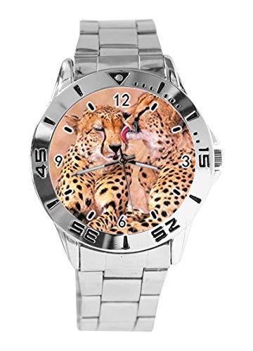 Cheetah Animal Print Custom Design Analog Armbanduhr Quarz Silber Zifferblatt Klassisch Edelstahl Band Damen Herren ()