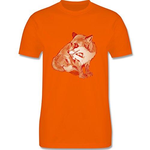 Eulen, Füchse & Co. - Fuchs Süss Zeichnung - Herren Premium T-Shirt Orange