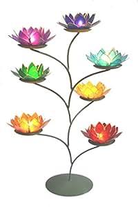 Magnifique Grande Fleur Lotus Chakra arc-en-ciel Thé Lumière Bougie Arbre de support avec support–envoi gratuit.