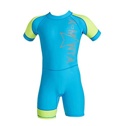 YFCH Jungen Sommer 2 Teilig Bademode Badeanzug Schwimmanzug(Badeshirt Kurzarm/Langarm+ Badehose), Zeichen auf Blau+ Gelb Kurzarm, 128/134(Herstellergröße: XL)