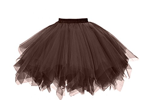 MuseverBrand 50er Vintage Ballet Blase Firt Tulle Petticoat Puffy Tutu Chocolate ()