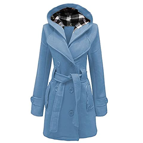 Ladies Women Lady Belted Button Hooded Hood Coat Jacket Top Size UK 8-20 (10, sky blue)