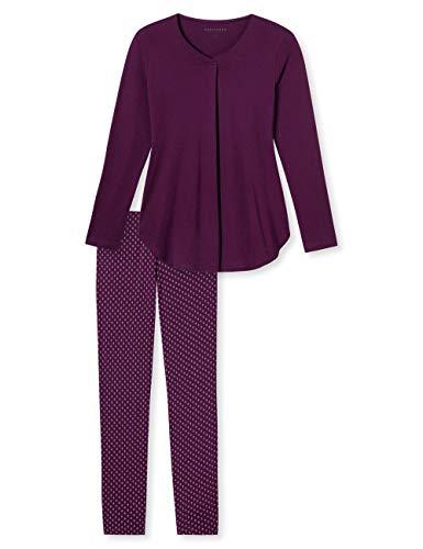 Schiesser Damen Zweiteiliger Schlafanzug Anzug lang, Rot (Bordeaux 502), 50