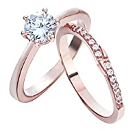 Bigood 2pcs Cubic Zirconia Solitaire Ring Rose Gold Plated Diameter 18.89mm