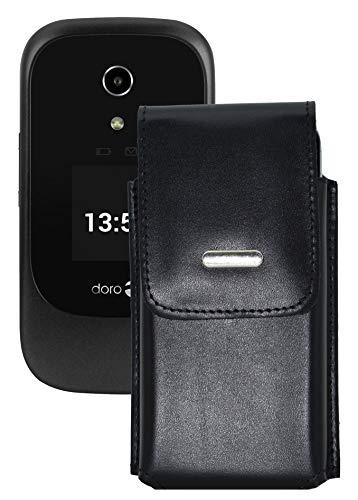 Favory-Shop Vertikal Etui für Doro 7060 Köcher Tasche Hülle Ledertasche Vertical Case Handytasche mit Einer Gürtelschlaufe auf der Rückseite