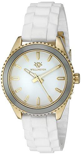 Wellington WN508-286 - Reloj analógico de cuarzo para mujer con correa de silicona, color blanco