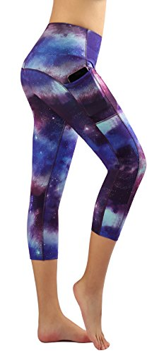 Munvot Yoga Leggings Damen mit Taschen Sporthose Yogahose Tights Fitnesshose Sport Leggings für Damen - Jupiter(3/4)/XL (DE44-46)