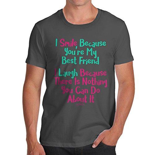 TWISTED ENVY Herren T-Shirt You're My Best Friend Print Dunkelgrau