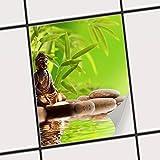 creatisto Fliesensticker Dekoraufkleber | Fliesen-Aufkleber Folie Sticker Selbstklebend Küche renovieren Bad Deko Küche | 20x25 cm Design Motiv Buddha Zen - 1 Stück