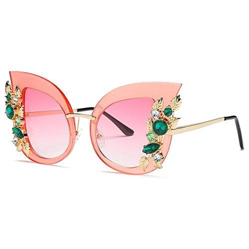 Likecrazy Damenmode Künstliche Diamant Sonnenbrillen Klassische Katze Ohr Metallrahmen Marke...