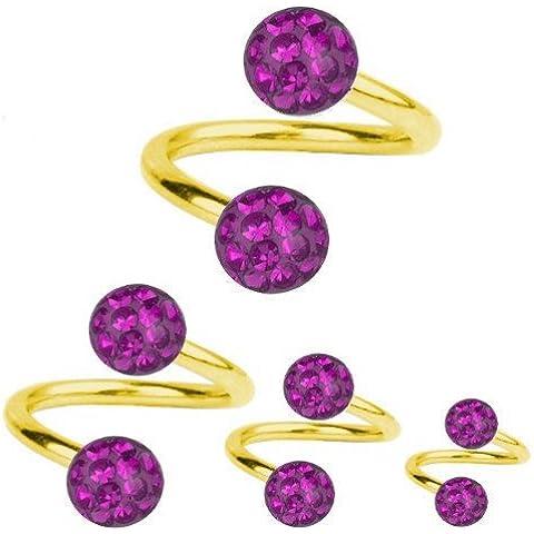 Giro de perforación de titanio de espiral en oro de 1, 2, diseño de bola de cristal de color púrpura  