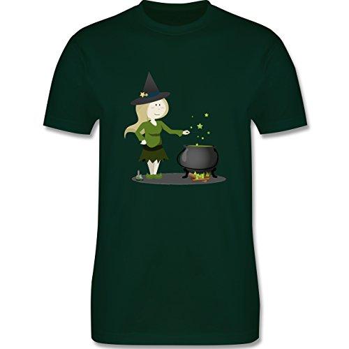 Halloween - kleine Hexe - Herren Premium T-Shirt Dunkelgrün