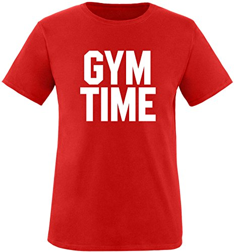 EZYshirt® Gym Time Herren Rundhals T-Shirt Rot/Weiss