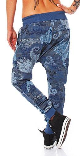 ZARMEXX Signore alla moda dei pantaloni pantaloni della tuta harem pants Harem Lounge pantaloni larghi Fidanzato Sport Loose Fit blu denim