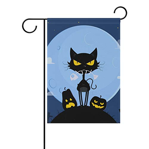 LINDATOP Terrific Halloween Katze Garten Flagge 30,5 x 45,7 cm doppelseitig Yard Dekoration Polyester Outddor Flagge Home Party, Polyester, Multi, 12x18(in)