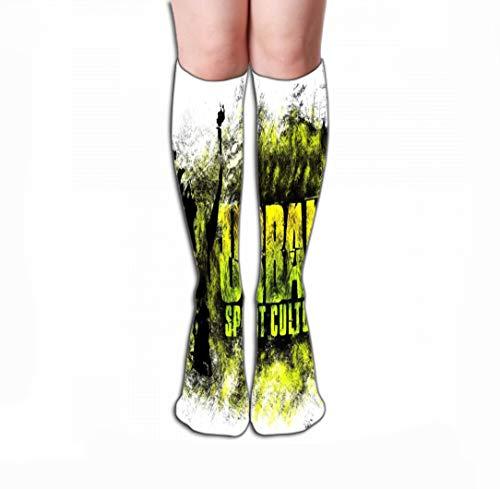 Xunulyn Hohe Socken High Stockings Athletic Compression Long Socks for Men's Women and Girls 19.7