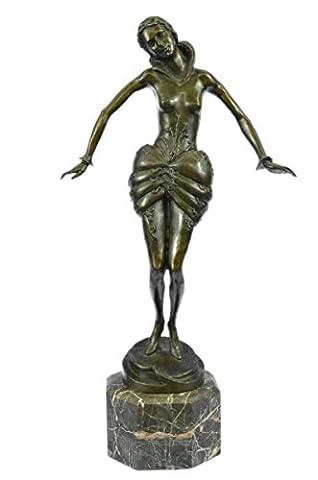 Bronze à la main Sculpture Bronze Statue Sexy Seductive Nu Fille Signée Art Déco Erotic Marbre Figure-JPxn-2164- collection Décor cadeau Vrai bronze