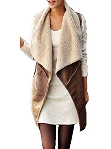 Minetom Donne Giacche di Pelle Senza Maniche Lunghe Faux Fur Pile Gilet Vest Coat ( Marrone IT 40 )