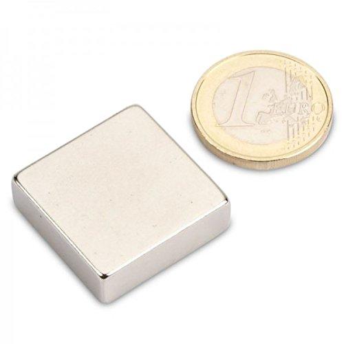 Quadermagnet 25,0 x 25,0 x 8,0 mm N45 Nickel - hält 16 kg, Neodym Supermagnet Powermagnet Haftmagnet Rechteckmagnet