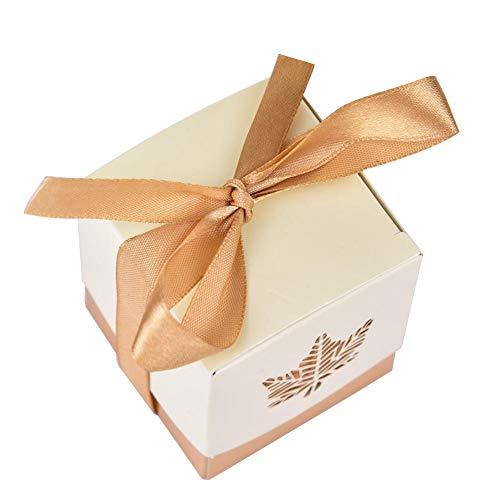 Createjia 12 Stücke Laser Hohle Ahornblätter Pralinenschachtel Für Hochzeit Gunsten Süßigkeiten Geschenke Box Mit Spitze 5 5 5,5 cm Silber Gold (Hochzeit Gunsten Box-gold)